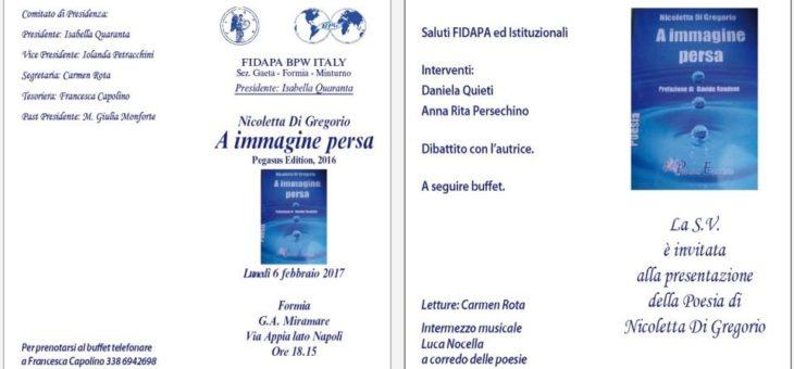 Fidapa Bpw Italy: la Poesia di Nicoletta Di Gregorio a Formia