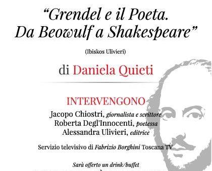 """Firenze: """"Grendel e il Poeta – Da Beowulf a Shakespeare"""" di Daniela Quieti alle Giubbe Rosse"""