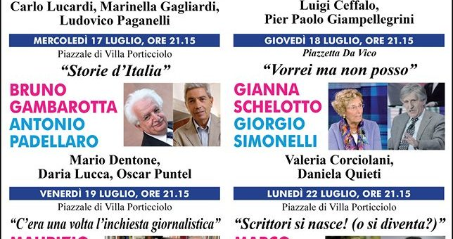 """TIGULLIANA INCONTRI ESTATE 2019"" a Rapallo con grandi nomi"